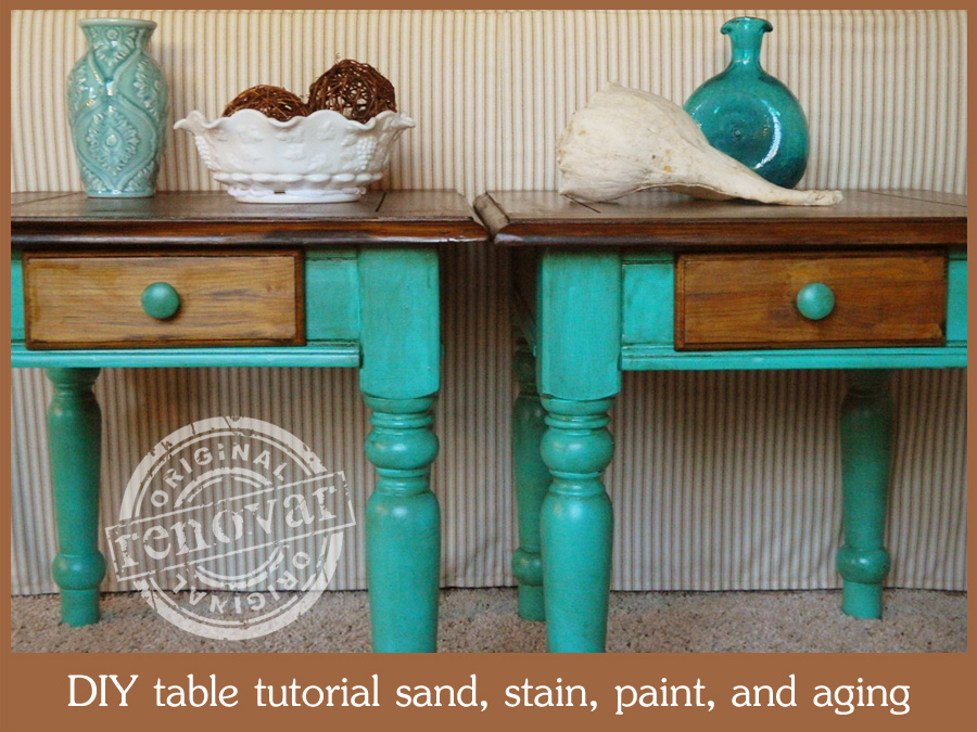 Two-Tone Painted and Stained End tables