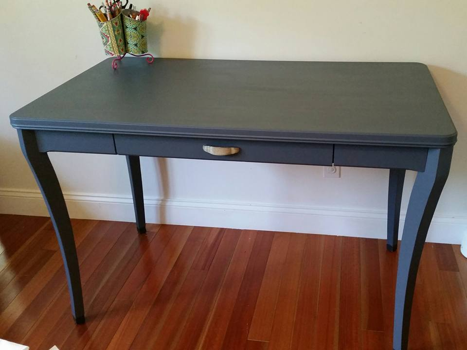 Wow! Melissa F. really brought this table to life with Farmhouse Indigo paint! Great work!