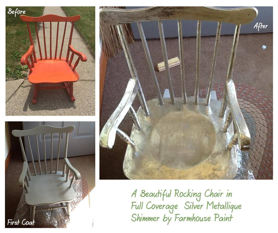 This beautiful and very creative wooden rocking chair was done by our talented customer Sue. The chair was first painted in Farmhouse's Gray Limoge then taken to the next level with Farmhouse's Silver Metallique Shimmer finish! Beautiful!