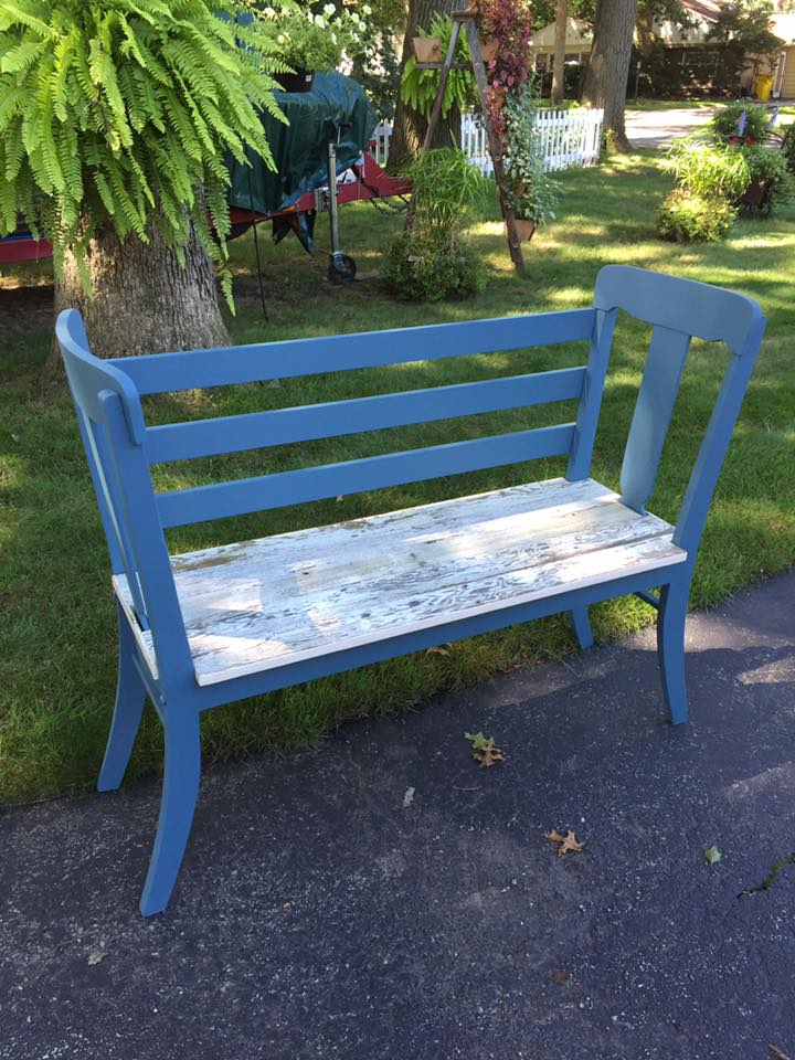 The Salvage Shop turned two chairs and reclaimed barnwood into this gorgeous bench. Painted in Farmhouse Paint's Pigeon Blue.