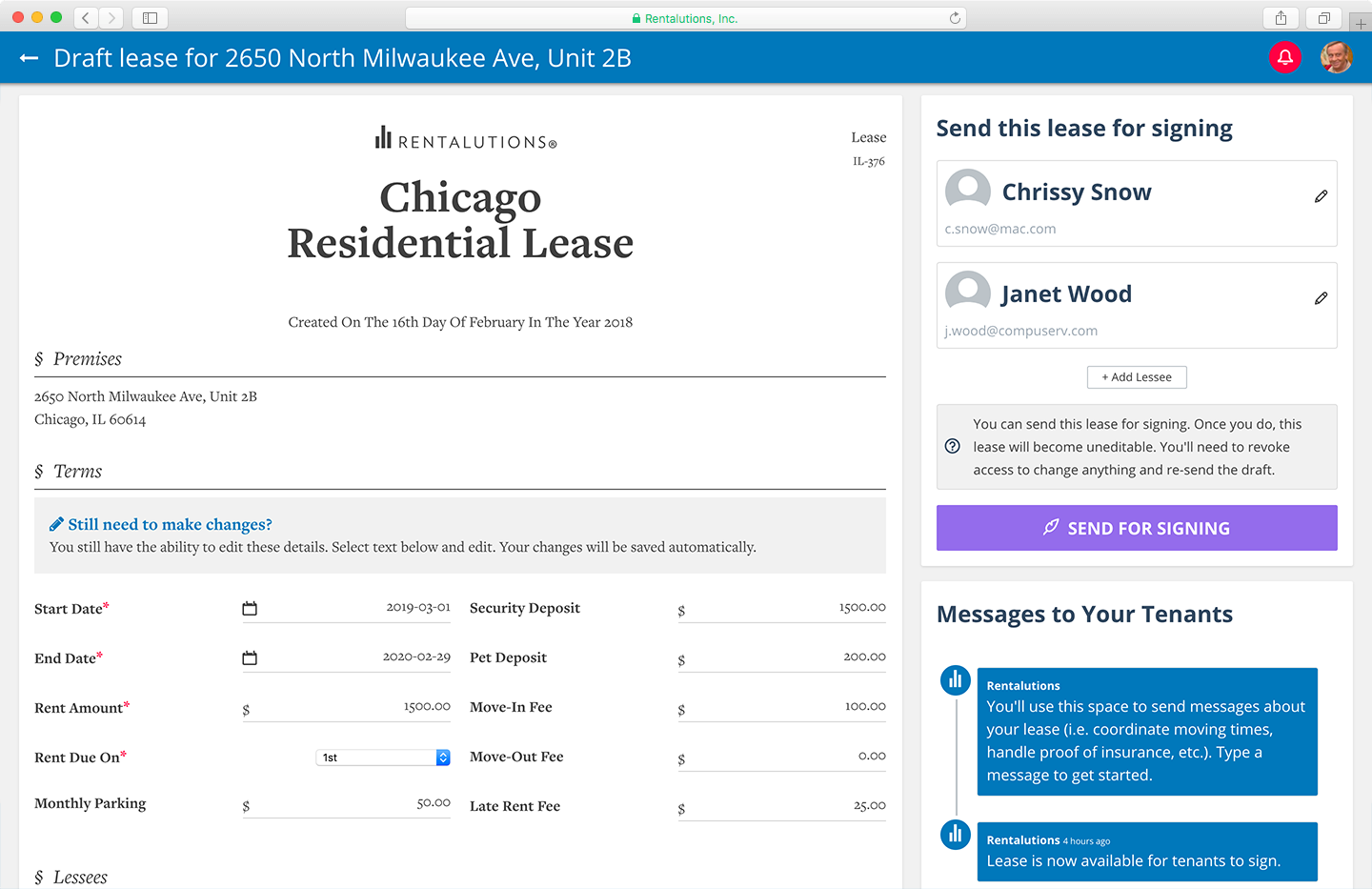 Leases can be created, customized, routed, and signed by all parties online within just minutes screenshot