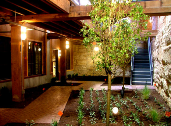 Unique courtyard of the Majestic Stove Lofts