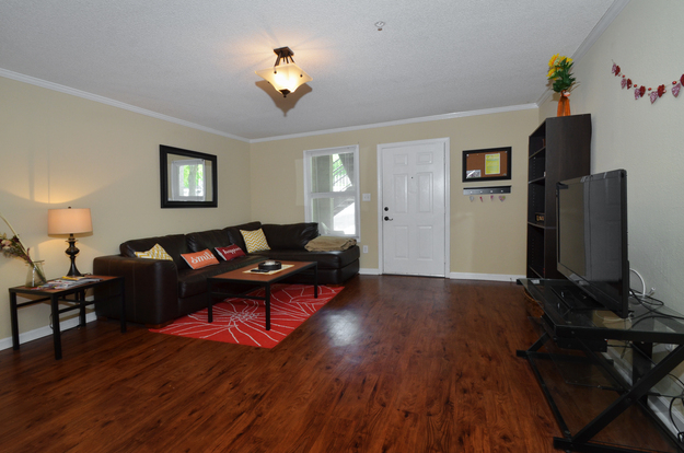 Spacious Polo Club Tallahassee apartment interior with hardwood floors and huge windows