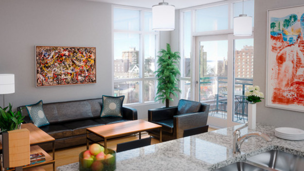 Clean City View apartment with floor-to-ceiling windows and personal balcony