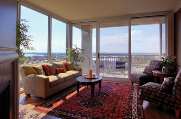 Amazing views out of the floor-to-ceiling windows in a Lucky 777 apartment