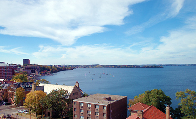 The spectacular view of Lake Mendota from a Waterfront Apartment