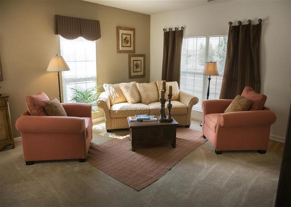 Quiet and peaceful Bradford at Easton living room with oversized windows