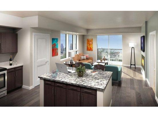 Rendering of a beautiful Grain Belt apartment with open floor plan and huge windows