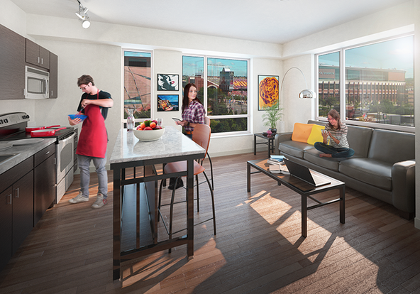 Rendition of 700 on Washington Apartment with modern kitchen and breakfast bar