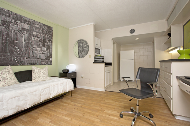 Spacious luxury studio at College Manor with hardwood floors