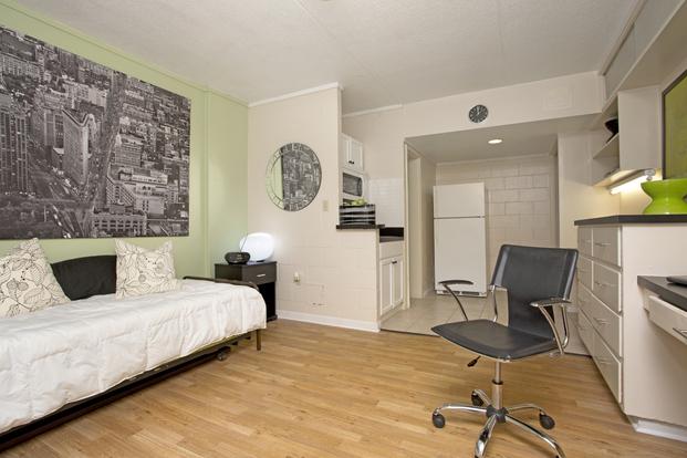 Spacious luxury studio at College Manor with hardwood floors