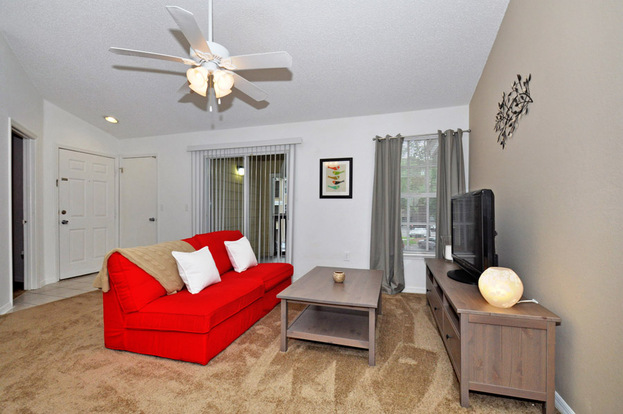 Large Polos apartment living room with carpeting and huge windows