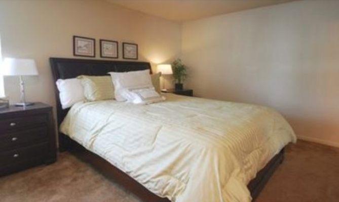 Spacious bedroom at The Fountains at Lindenwood apartment