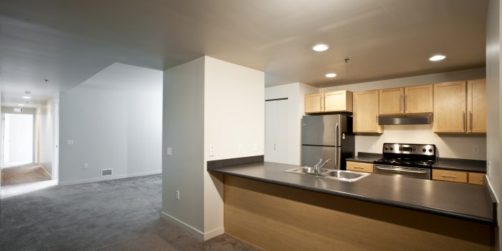 Sleek industrial Professional Building Loft apartments with modern kitchens & roomy floor plans