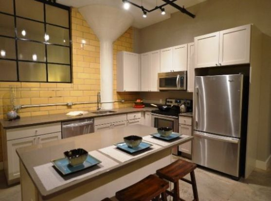 Laclede Lofts Kitchen with designer lighting and high-end appliances