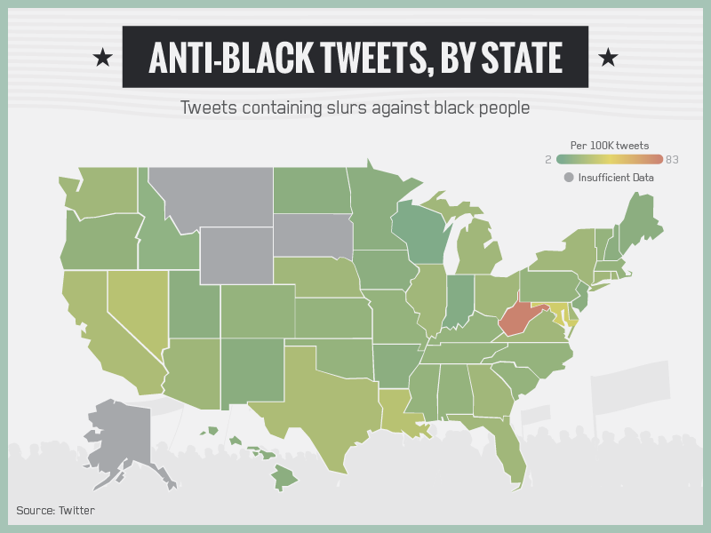 Anti-Black Tweets by State