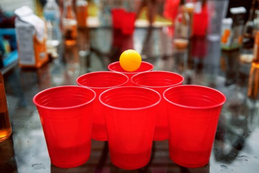 red solo cups arranged for pong