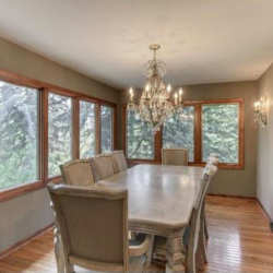 Dining room with a chandelier