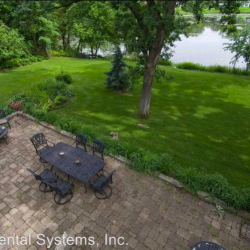 The backyard includes waterfront area