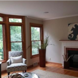 Living room fireplace and large windows