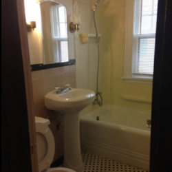 Bathrooms have tile floors