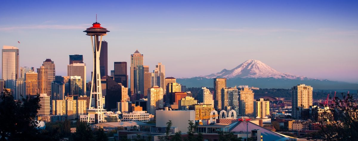 Seattle skyline with mountains