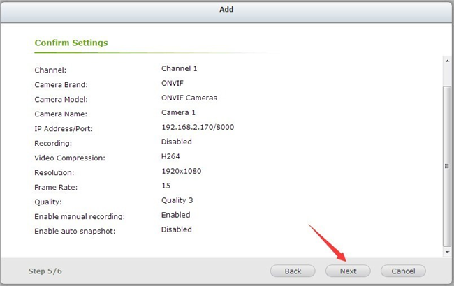 Confirm QNAP IP Camera Settings