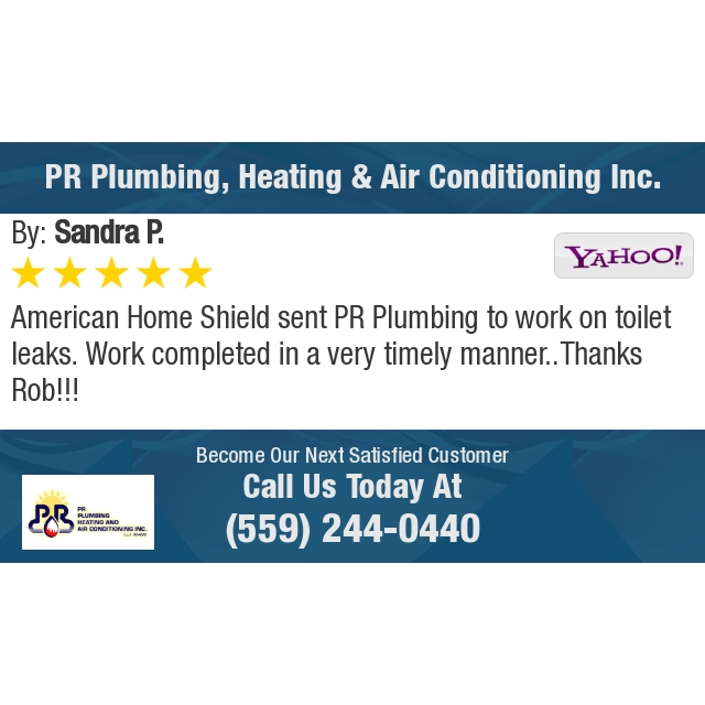 American Home Shield sent PR Plumbing to work on toilet