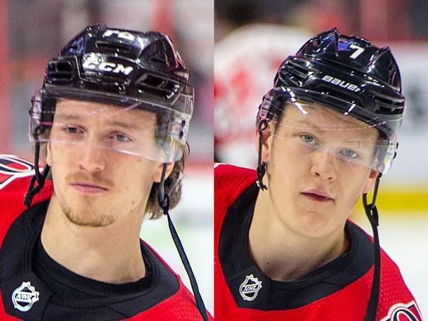 Either former Saint John Sea DogThomas Chabot, left, or Brady Tkachuk are expected to be named the new captain of the Ottawa Senators.
