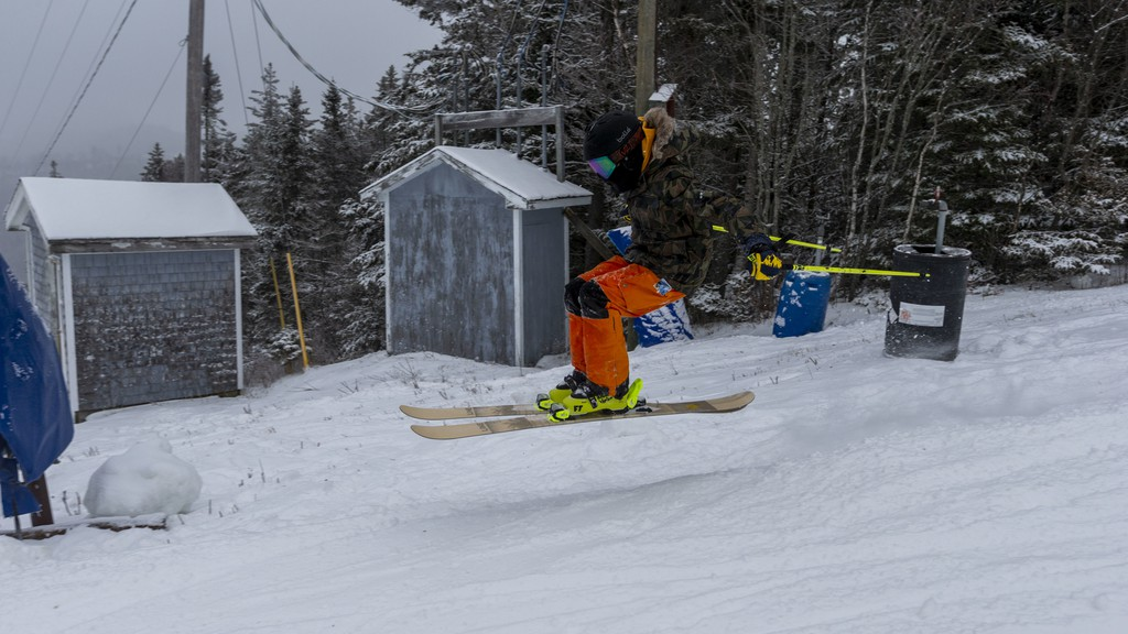 A skier catches air on their way down the trail at Poley Mountain. General manager Jamie Hare said the resort is hoping to build on a successful February and finish the challenging season on a high note. All ski passes have sold out for March Break.