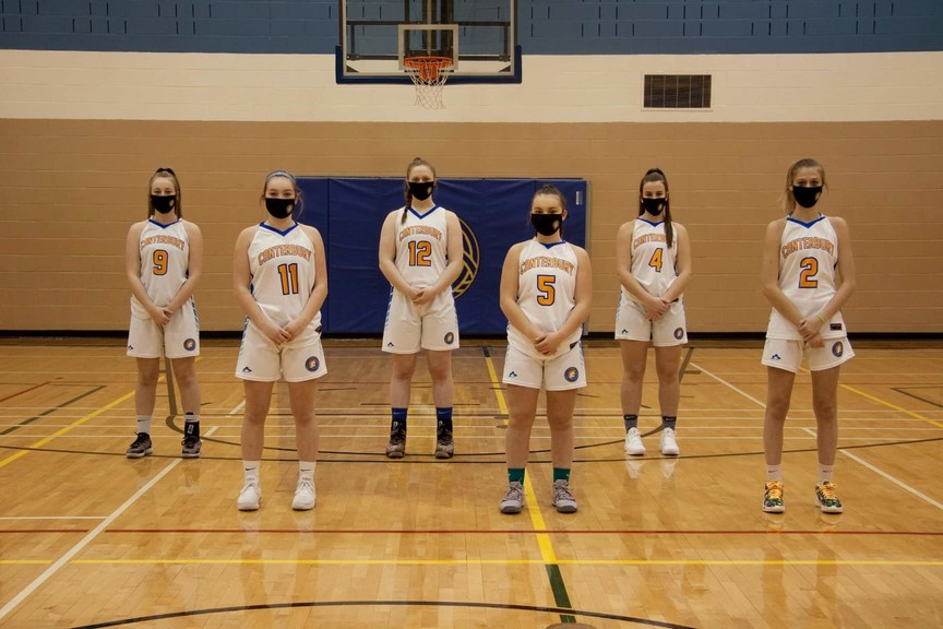 The Canterbury Celtics Class A girls basketball team is one of the squads at Canterbury High School that will soon benefit from a new hoops shooting machine to practice their skills. From left are Aly Dickison, Meghan Hume, Paige Luimes, Mariah Hume, Claudia Patterson and Kyla Jewett.