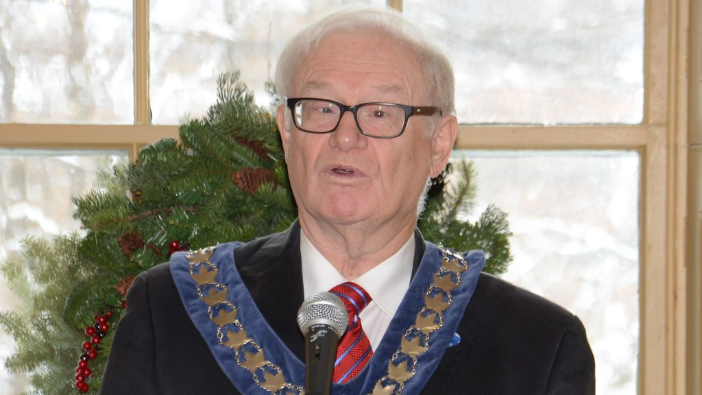 Mayor Art Slipp addresses visitors at Connell House for the town's annual New Year's Levee in this file photo. Slipp, who has served as mayor of Woodstock since 2008, will reoffer in the upcoming May municipal elections.