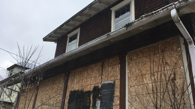 A boarded-up house on High Street in Moncton is pictured on Dec. 9, 2020. Sue Rickards writes about the long struggle to provide adequate affordable housing in New Brunswick.