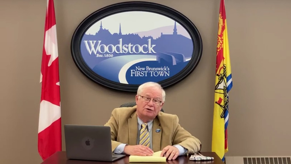 Woodstock Mayor Art Slipp addresses town residents about the return to the yellow phase of COVID-19 protocols in a video posted to the town website on Friday.