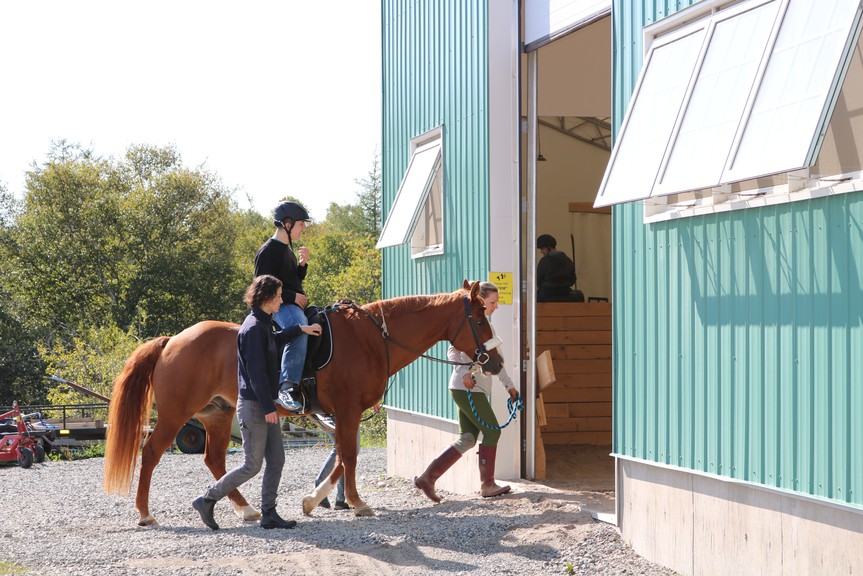 Each session at Shining Horizons has a lead, who is in front of the horse, and one person on each side of the horse while the client participates in their session.