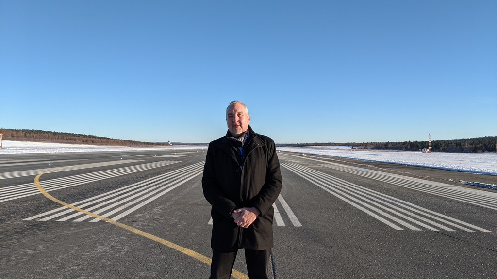 Saint John Airport CEO Derrick Stanford is pictured here on an empty runway Monday. The airport saw its last departing commercial flight after Air Canada announced in December it was suspending service indefinitely out of the Port City.