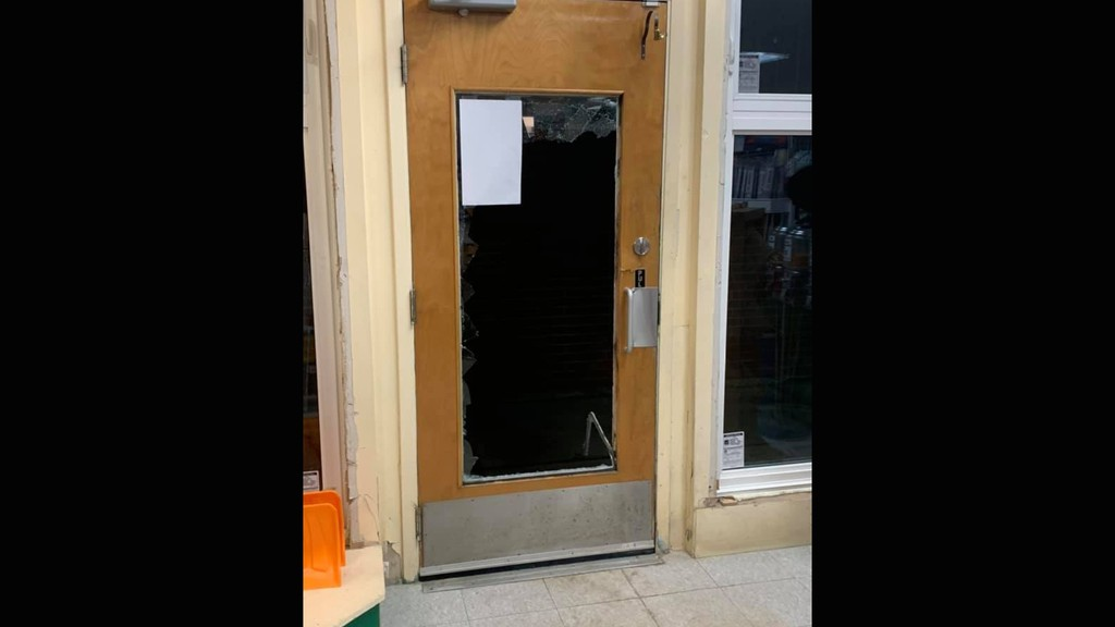 This photo posted on the BMR Florenceville Facebook page shows the door at Courtyard Hardware, which was broken into last week.