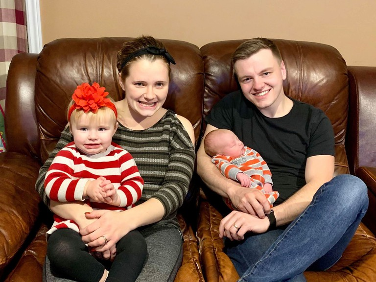 Jessica and Daniel Leavitt sit with their two children, 19-month-old Gracelynn and newborn Malachi. Malachi was born at 2:22 a.m. on Jan. 6 at the Sussex Health Centre when Leavitt went into labour. The couple didn't have time to drive to the Saint John Regional Hospital.