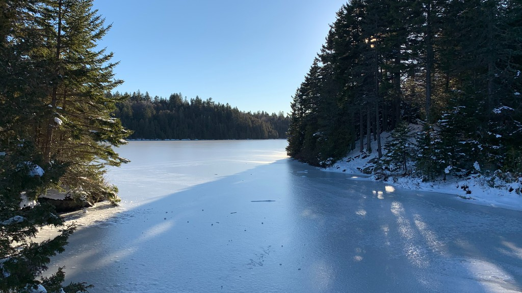 The water is partially frozen at Rockwood Park.