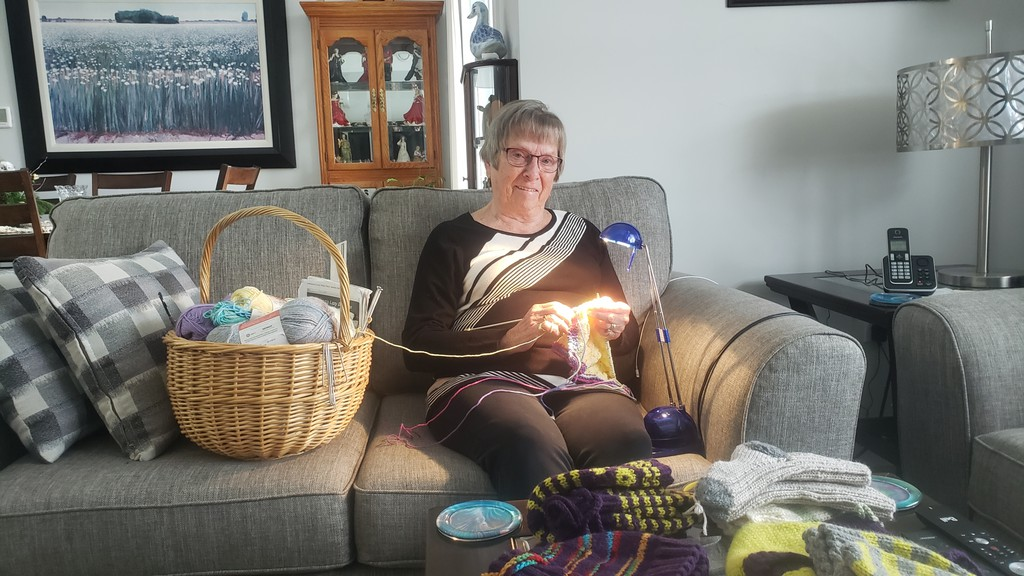 Judi Sloat of Fredericton continues to knit despite declining eyesight due to macular degeneration. She recently knitted and donated 80 caps for newborn infants and sent them to the Dr. Everett Chalmers Hospital just before Christmas.