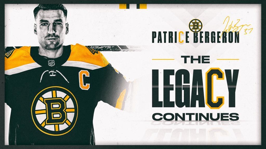 The Boston Bruins announced on its website Jan. 7 Patrice Bergeron would wear the 'C' for Boston.