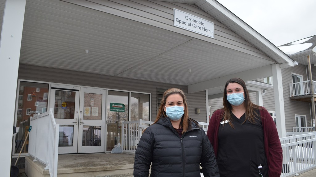 Erynn Bailey, director of Enhanced Living Oromocto and Gagetown, left, and Alicia Simmons, a licensed practical nurse who works at the Oromocto centre, plan to be the first employees of the special care home to receive the COVID-19 vaccine at a clinic this weekend to encourage their colleagues to do the same.