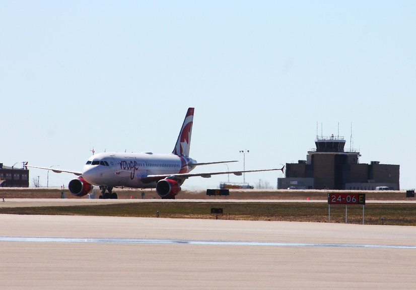 The first Air Canada Rouge A319 taxis at the Greater Moncton Romeo LeBlanc International Airport at about midday on Wednesday.