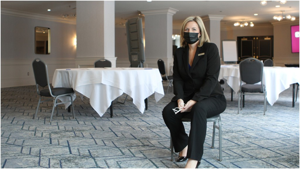 Sara Holyoke, general manager of the Delta Hotel in Fredericton, says the COVID-19 pandemic has killed her hotel's convention and meeting business.