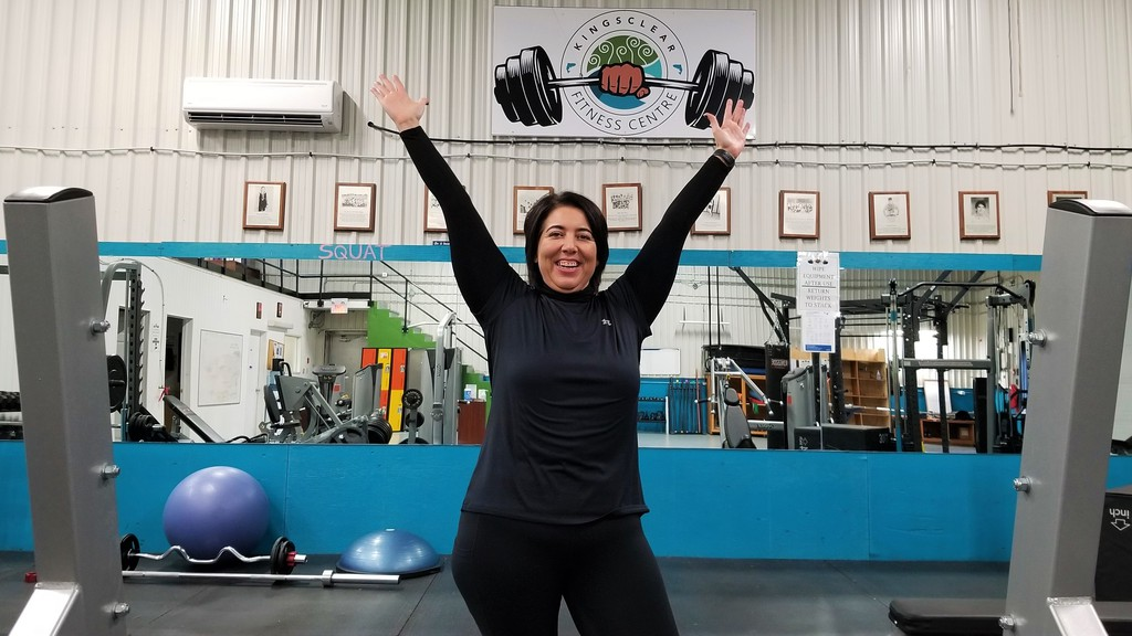 Veronica Atwin is shown at the Kingsclear Fitness Centre. The 45-year-old Kingsclear First Nation woman has lost 121 pounds and 65 inches over the past 18 months, inspiring others with her commitment.