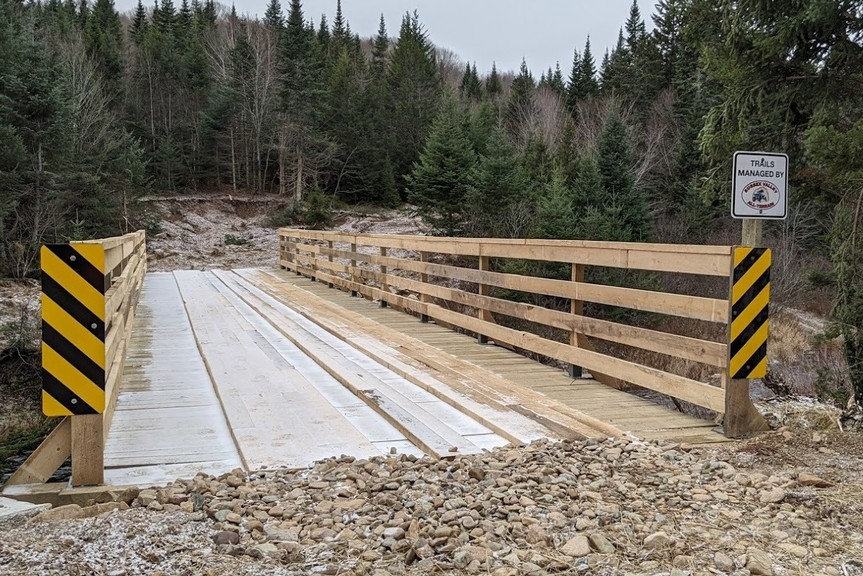 The new 80-foot bridge that's part of the province's 11 Signature Trails project was completed in the fall by the Sussex ATV Club. The club's trail system received extensive flood damage in December.