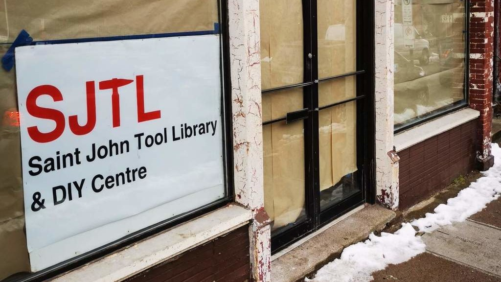 A temporary sign has gone up at the Saint John Tool Library's new home on Princess Street. Director Brent Harris hopes the library will be open to the public at its new home in March.