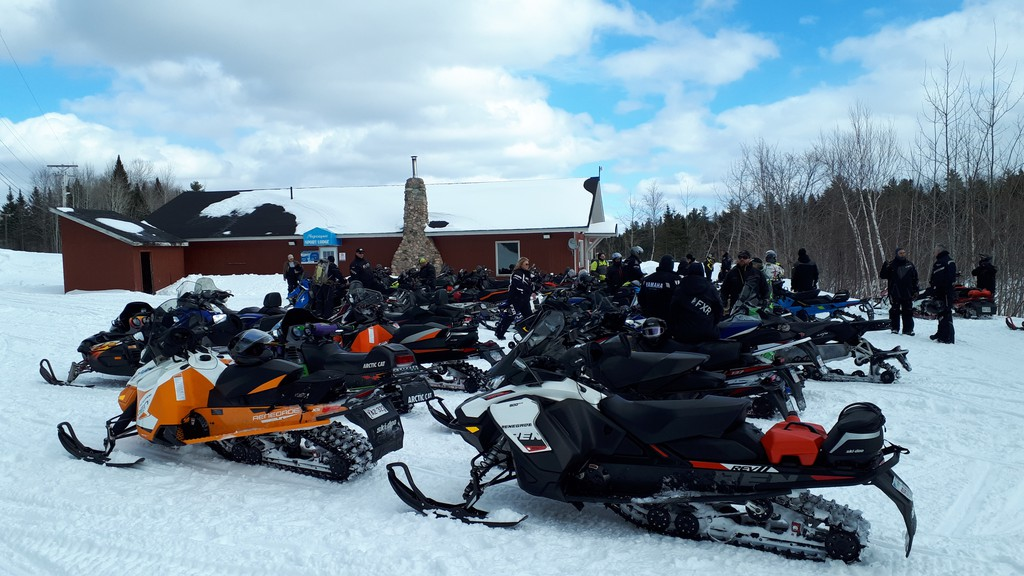 The Nepisiguit Snowmobile Club will hold a lotto this year to replace fundraisers cancelled due to COVID-19. Shown in this file photo are snowmobiles parked outside the Nepisiguit Sports Lodge.