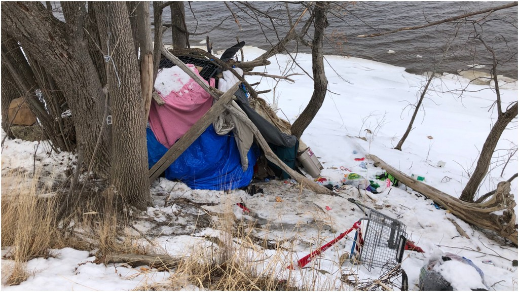 No one was home at this makeshift encampment along the banks of the St. John River on Monday.