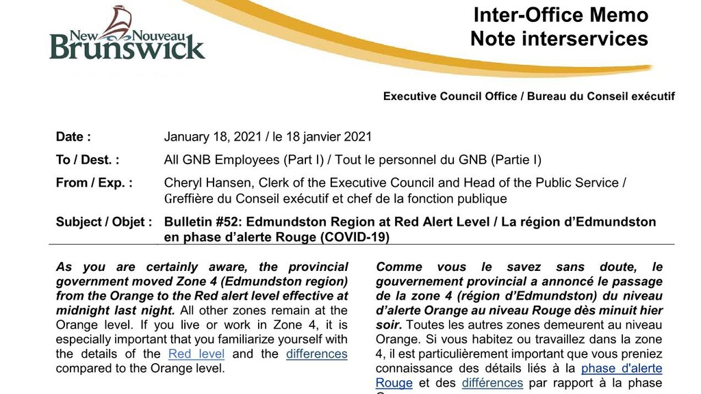 This memo was sent to about 10,000 civil servants in New Brunswick Monday.